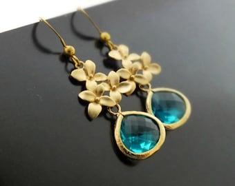 Blue Zircon Dangle Earrings, Gold Cherry Blossom and Gold Filled Blue Zircon Dangle Earrings - Also Available in Silver, Bridesmaid Earrings