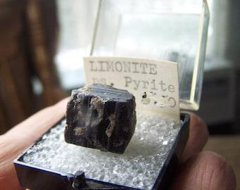 Vintage Pyrite Limonite Colorado  USA mineral specimen aggregate - perky box rare old stock collection- cube formation rare unusual ASK8
