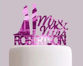 Personalised Name Bride and Groom Cake Topper - Choose your colour!