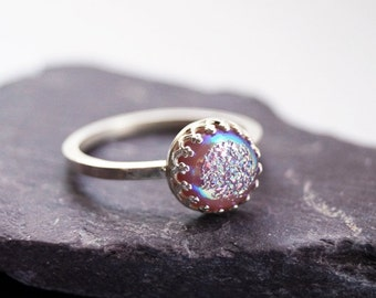 Lilac Drusy Sterling Silver Ring ~ statement ring, stacking ring, gemstone, unique, drusy, purple