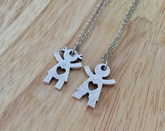 Best Friend Necklace, Friendship Necklace, Boy Girl Necklace, Brother Sister Charm, Family Necklace, Love Necklace, Friendship Jewelry