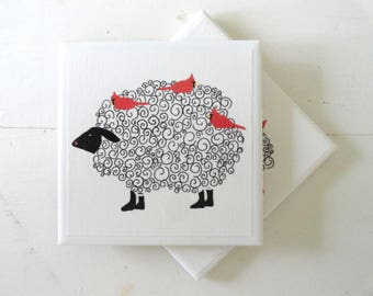 Curly Sheep Ceramic Drink Coasters-Set of 4