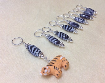 Tiger Stitch Marker Set | Snag Free Knitting Progress Markers | Gift for Knitters | Zoo Animal