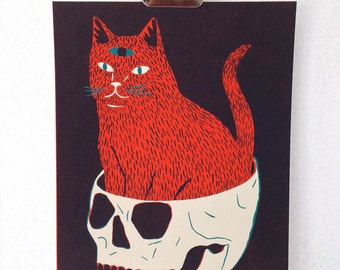 CAT & SKULL - Screen Print **on hold for Olivia B**