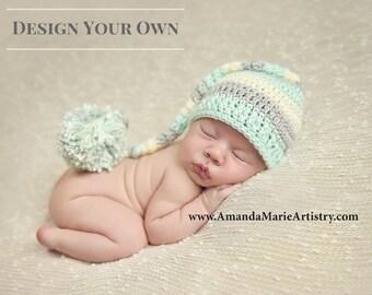 Newborn Elf Hat with Pom Pom - Boy Elf Hat - Long Tailed Baby Elf Stocking Hat - Mint Light Gray Off White - Photo Prop Hat Newborn Hat Boy