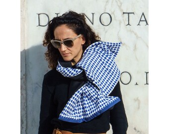 White Scarf Neoprene Reversible Scarf Two Sided Scarf Wide Shawl Neoprene Neck Warmer Extravagant Shawl Blue Long Scarf Oversize Bow Scarf