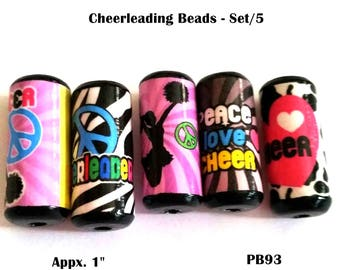 Adorable Cheerleader Beads -  Handmade Paper Tube Beads - Set/5  -  PB93