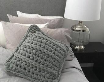 Grey Merino Blend Wool Stripe Crochet Cushion