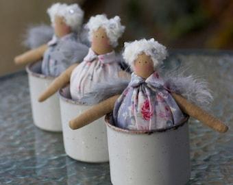 Tilda Angel Doll  Vintage Handicrafts Christmas Tea Cup Angel Swarovski