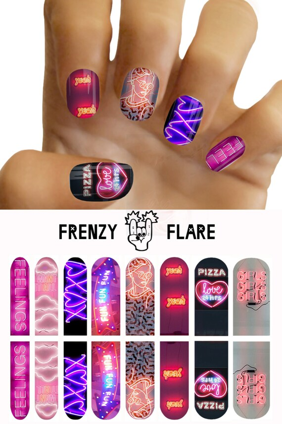 Nail Decals Neon Signs. Water Transfer Nail Art from ...