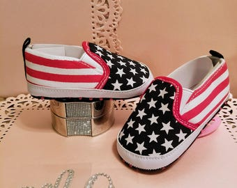 American Flag Deck Shoes Baby Pre-walker Soft Sole Red White Blue Patriotic Adorable    SPRING15 to get 15% off orders 20.00+