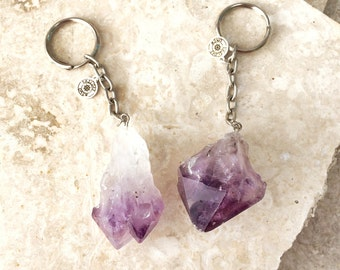 Crystal Visions AMETHYST keychain - large raw crystal on a silver chain and split ring with logo charm