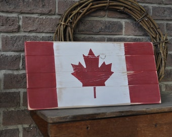 Canadian Flag. Rustic Decor.