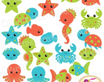 INSTANT DOWNLOAD clipart Cute Under the Sea Animals Fish Turtle Seahorse Crab Octopus Shell Starfish Blue images digital clip art pf00061-8