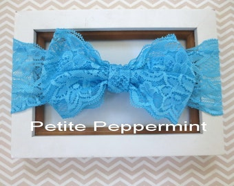 Turquoise baby headband, lace bow head wrap, baby turquoise bow head band, baby head wrap, bow knot headband, Top Knot Baby Headband