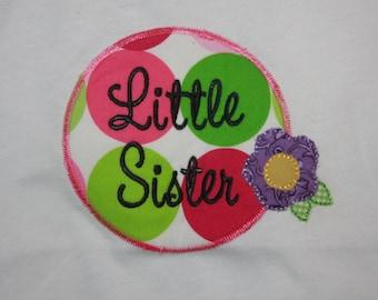 Little Sister T-shirt  wild flower - Big sister - Applique shirt - Embroidery shirt - Sibling Shirt - short sleeve - flower - colorful color
