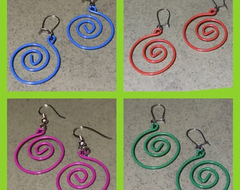 Bright Colors Spiral Paperclip Dangle Earrings - 1 3/4-inches