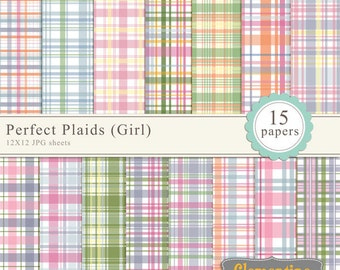 Printable Plaid scrapbook paper 12x12, digital scrapbooking paper, royalty-free commercial use - girl- Instant Download