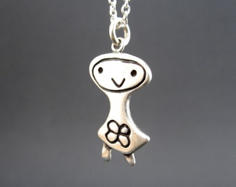 Sterling Flower Girl Necklace  - Silver Flower Girl Pendant or Charm