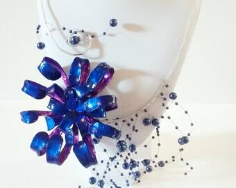 Flower, chrysanthemum and cascade necklace beads