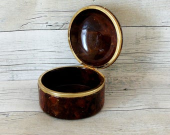 Stoneware box, ceramic box, ceramic trinket box, lidded box, keepsake box, vintage box, mid century, vintage, dresser jar,  round box