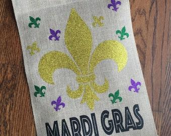 Mardi Gras Burlap Garden Flag, Mardi Gras Flag, NOLA Flag, Burlap Flag, Yard Art, New Home Gift, NOLA Gift, Purple Green Gold