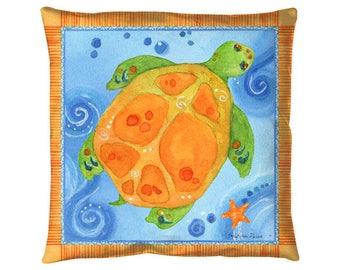 """Turtle Pillow : 18x18"""" indoor outdoor throw pillow"""