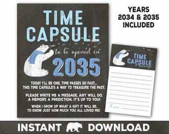 Winter Onederland time capsule sign and message card - Polar bear first birthday party- Onederland 1st birthday - invitation in shop