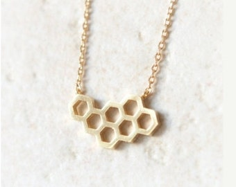 beehive necklace, honeycomb, honeycomb necklace, honeycomb jewelry, gold beehive necklace, geometric necklace, bridesmaid necklace