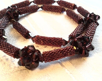 Hand Beaded Necklace Featuring Swarovski Crystals and Delica Beads, OOAK