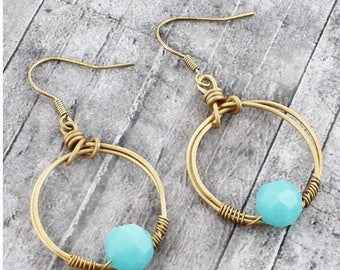 Gold Wire-wrapped Earrings with Aqua Stone
