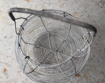 vintage French wire egg basket / metal cage
