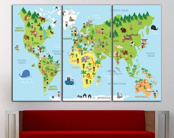 Kids World Map Wall Decor Kids World Map Wall Art Nursery Map Kids World Map Print Kids World Map Canvas Nursery World Map Nursery Decor