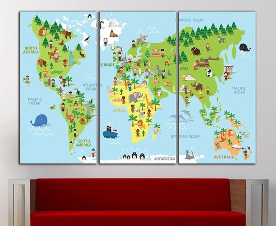 Kids world map wall decor kids world map wall art nursery map like this item gumiabroncs Gallery
