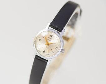 Minimalist women watch. Vintage lady watch. Small women wristwatch gift. Soviet girl watch mechanical. 70s watch her. Premium leather strap