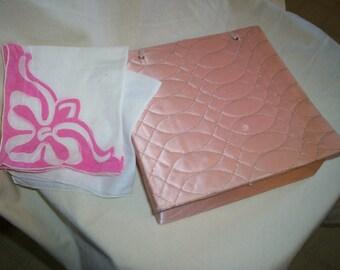 Vintage Pink Retro 50s Quilted Handkerchief Hanky Box with 2 Vintage Handkerchief Vanity Dresser Accessory