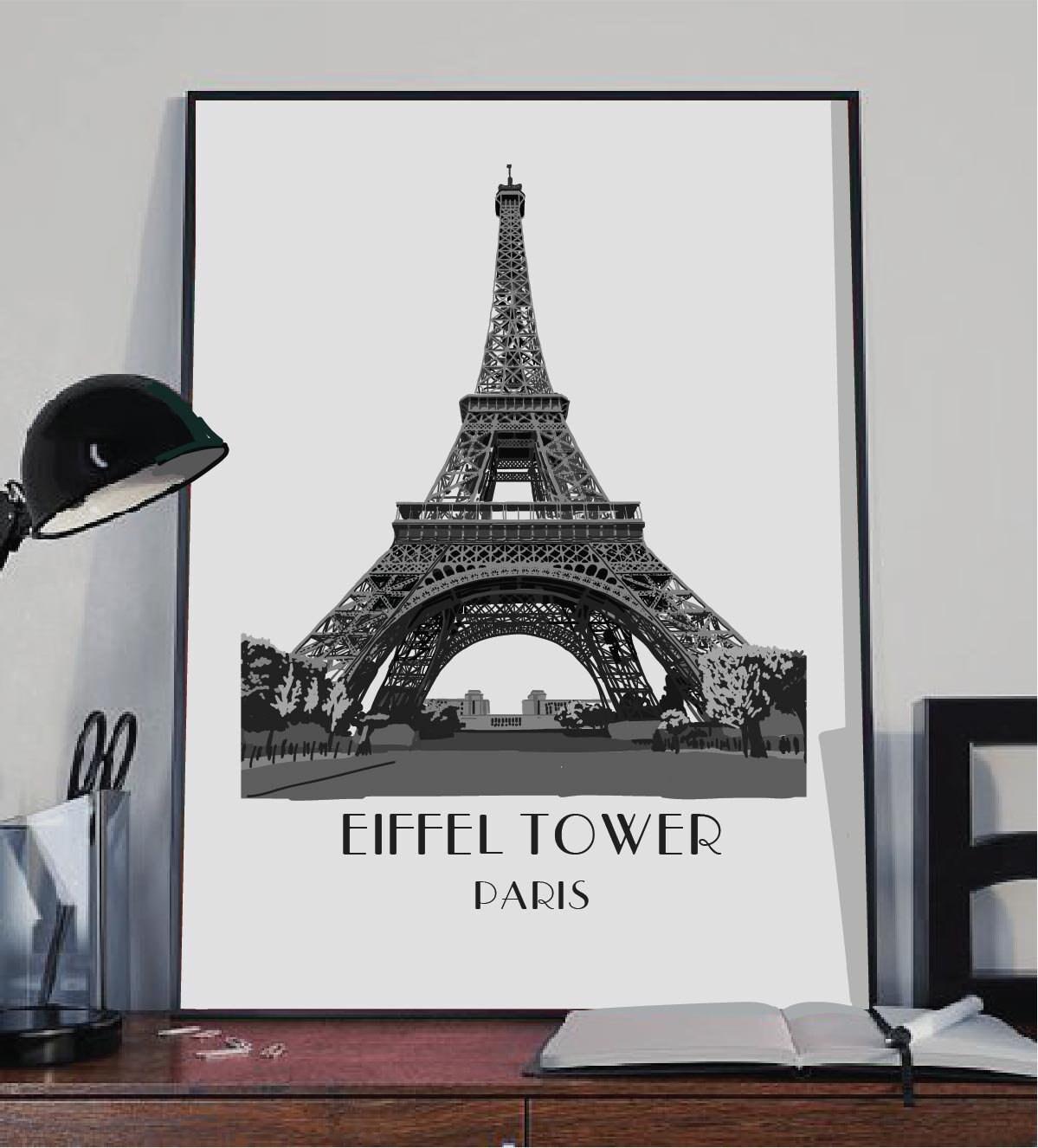 Eiffel tower art print paris art print eiffel tower poster zoom jeuxipadfo Images