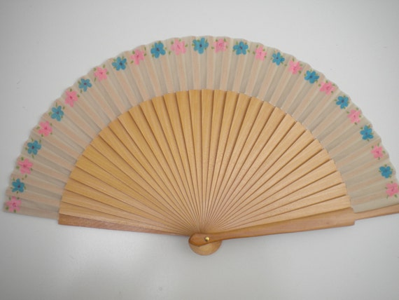 Ditsy Floral Hand Fan Natural Wooden Baby Pink and Blue READY to SHIP