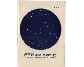 1948 URSA CONSTELLATION STARS lithograph - mini constellation map - original vintage print - celestial astronomy - no. 4