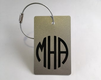 Monogram Luggage Tag -  (2 Tags) Silver and Black Personalized Luggage Tag, Custom Gift, Travel Gift, Back Pack Tags, FREE SHIPPING