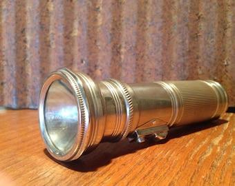 Vintage Ox Brand Flashlight, Chromed Metal, Silver, Made in Hong Kong