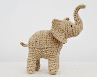Elephant Crochet Pattern,  Elephant Amigurumi Pattern, Trunk Up Elephant, toy pattern, crochet art, crochet sculpture, home decor