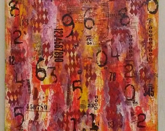 """24"""" X 20"""" Abstract Paper on Canvas Mixed Media Collage by Charles Davis"""