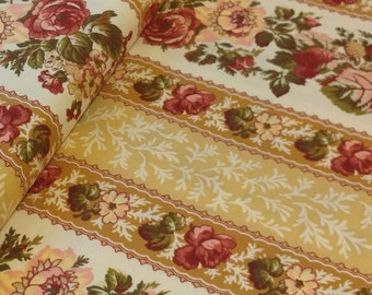 Floral Fabric by the Yard, Rose Stripes in Cream, Rosetree Cottage by Studio E, E60-1078
