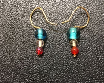 Small Dangle Red, White and Blue Earrings