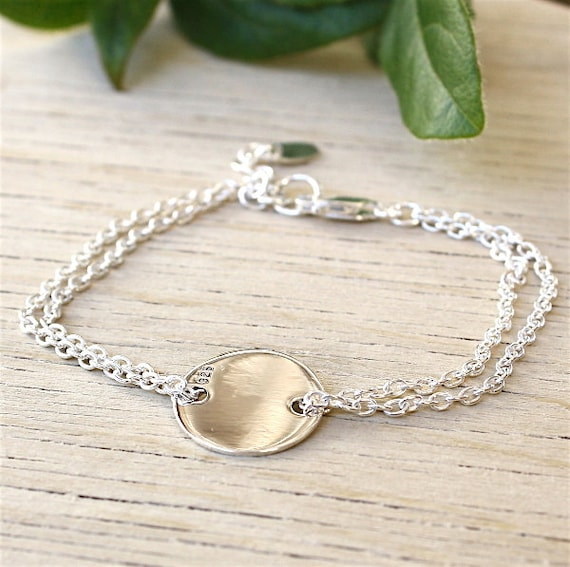 925 sterling silver bracelet double chain and medal