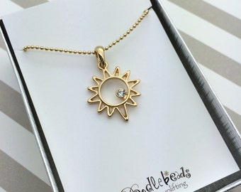 Silver or Gold Sun Necklace,  Sunshine Necklace,   Small Gold Sun Pendant with You are my sunshine quote card or gift box, daughter gift