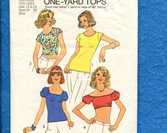 1970's Simplicity 6902 Summer Time Disco Dancing Tees & Crop Tops Size 14..16