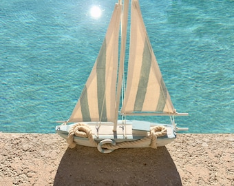 Beach Décor Ship White Blue Wooden by SEASTYLE