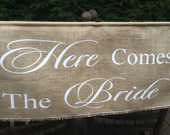 Here Comes The Bride Banner, Burlap Banner, Burlap Wedding, Rustic Wedding, Burlap Here Comes The Bride, X Large Burlap Banner